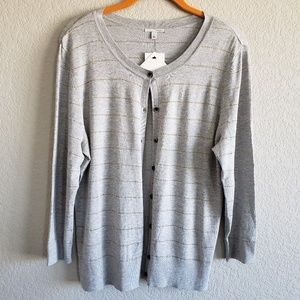 Halogen | Heathered Gray Gold Striped Cardigan NWT